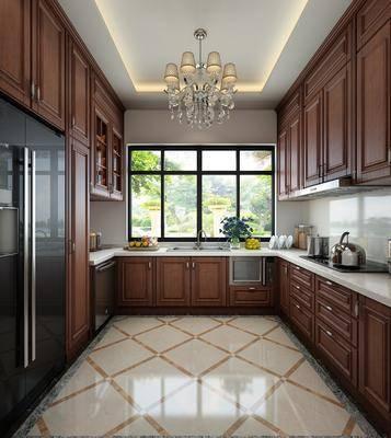 实木厨房, 厨具, 橱柜, 吊灯, 洗手台, 现代