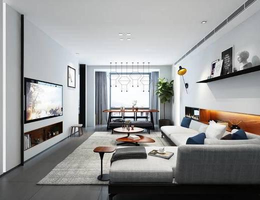 现代家装客厅, 客厅茶几, 现代沙发, 现代客厅