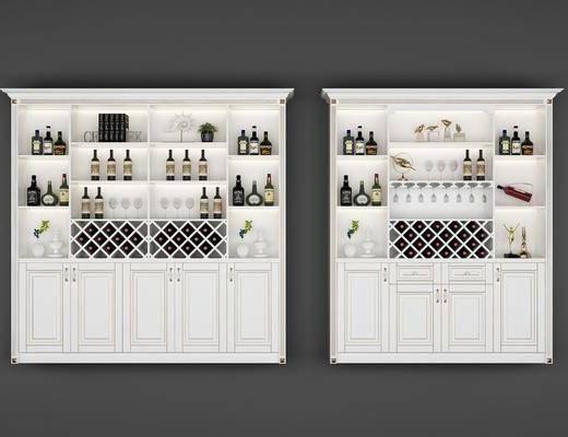 酒柜, 简欧酒柜, 摆件组合