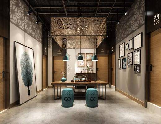 茶室, 茶馆, 凳子, 装饰画, 组合画, 挂画, 茶具, 吊灯组合, 边柜, 新中式