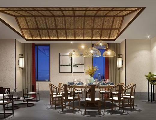 新中式, 包厢, 桌椅, 圆桌, 客厅, 餐厅, 吊灯