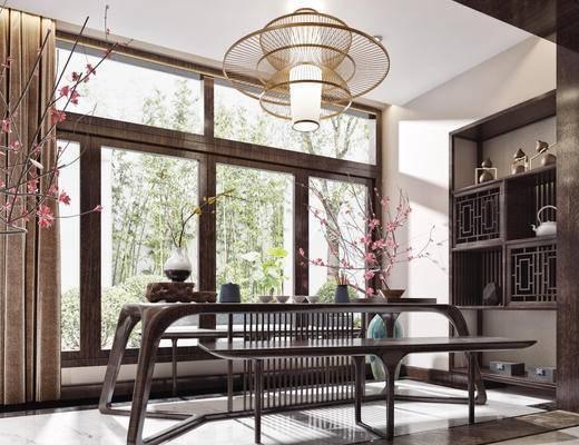 桌椅组合, 吊灯, 书柜, 摆件