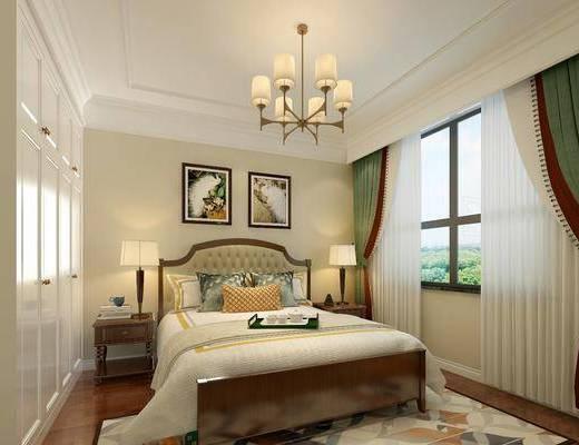 卧室, 双人床, 床头柜, 台灯, 装饰画, 挂画, 吊灯, 衣柜, 装饰柜, 美式