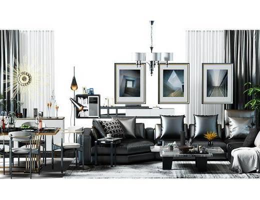 转角沙发, 吊灯, 窗帘, 餐桌椅组合, 餐桌, 桌椅, 桌椅组合, 盆景, 植物, 地毯, 沙发组合, 现代, 单人沙发