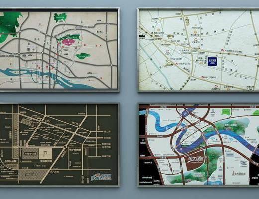 地图沙盘地图, 区域地图, 售楼处, 现代