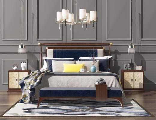 卧室, 双人床, 床头柜, 吊灯, 装饰品, 吊灯组合, 新中式