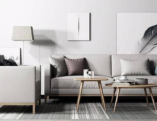 北欧简约, 沙发茶几组合, 挂画, 落地灯, 北欧