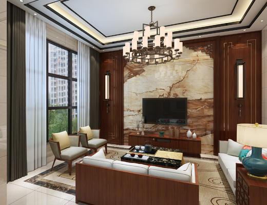 中式, 新中式, 客厅, 中式客厅, 沙发组合, 沙发茶几组合
