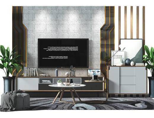 电视墙, 背景墙, 电视背景墙, 鞋柜, 边柜, 装饰柜, 盆景, 植物, 沙发凳, 茶几, 现代, 新中式, 北欧