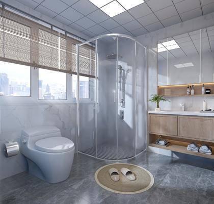 卫浴, 洗浴组合, 马桶, 洗手盆, 壁镜, 浴柜