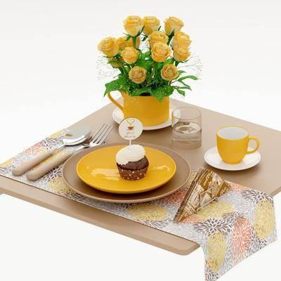 餐桌, 餐具, 花卉, 现代