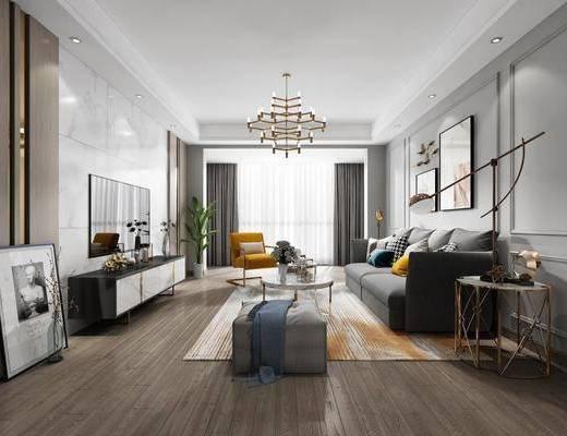客厅, 餐厅, 沙发组合, 茶几, 摆件组合, 现代客餐厅, 餐桌, 单椅, 餐具