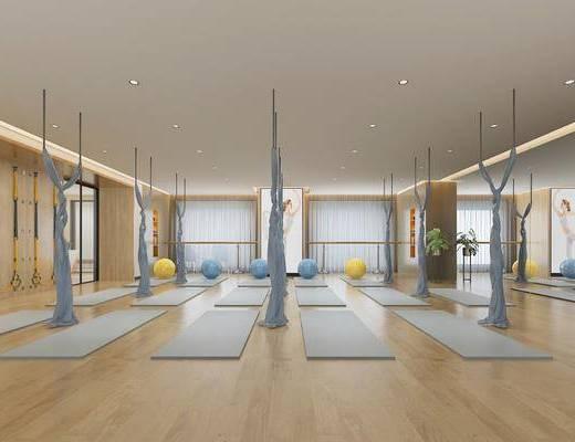 瑜伽室, 瑜伽垫, 舞蹈室, 现代