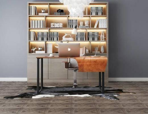 现代, 书柜, 桌椅组合