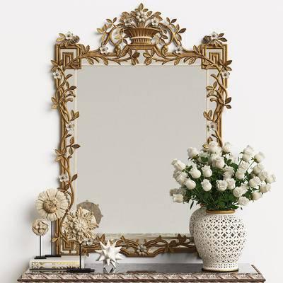 装饰镜, 雕塑, 工艺品, 书籍, 花卉, 白玫瑰, 花瓶, 摆件, 妆镜, 欧式, 简欧