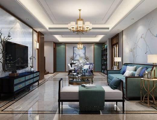 新中式客餐厅, 客厅, 餐厅, 沙发组合, 电视柜, 花瓶花卉, 吊灯, 圆几, 茶几, 桌椅组合, 餐具, 单椅, 置物架, 摆件组合, 新中式