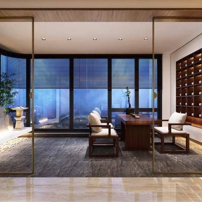 茶室, 茶桌, 单人椅, 摆件, 装饰柜, 绿植, 植物, 新中式