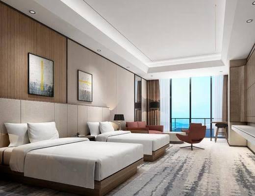 现代酒店标间客房, 现代, 酒店套房, 沙发, 床