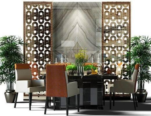 餐桌, 桌椅, 桌椅组合, 餐桌椅组合, 盆景, 植物, 餐桌椅, 现代, 盆栽, 新中式