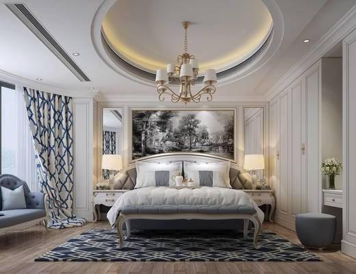 欧式, 卧室, 灯具, 双人床