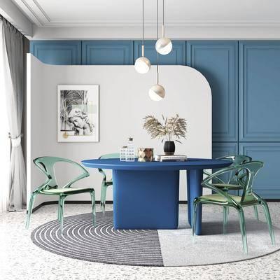 餐桌, 桌椅组合, 吊灯, 摆件组合, 装饰画