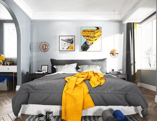 卧室, 床, 装饰画, 陈设品, 床头柜, 摆件