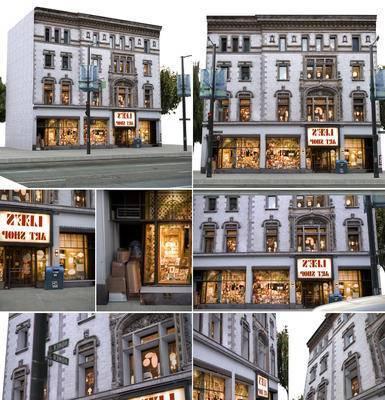 简欧风格建筑, 街道, 楼房, 商店, 门面, 门头, 门口, 橱窗