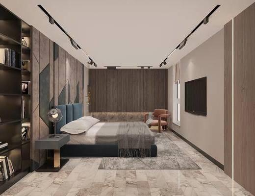 双人床, 背景墙, 地毯, 电视柜, 吊灯, 床头柜