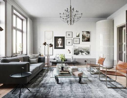 沙发组合, 茶几, 吊灯, 装饰画, 单椅