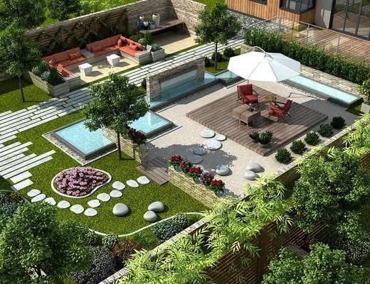 现代, 别墅, 庭院, 花园