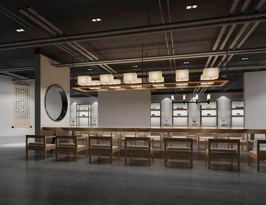 茶馆, 茶室, 中式吊灯, 中式装饰画, 中式, 中式茶室, 装饰柜