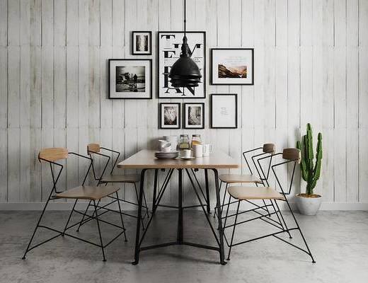 工业风, 桌椅组合, 植物盆栽, 吊灯, 餐具组合, 装饰画