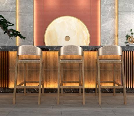 ?#21830;? 吧椅, 单人椅, 背景墙组合, 盆栽, 绿植植物, 新中式