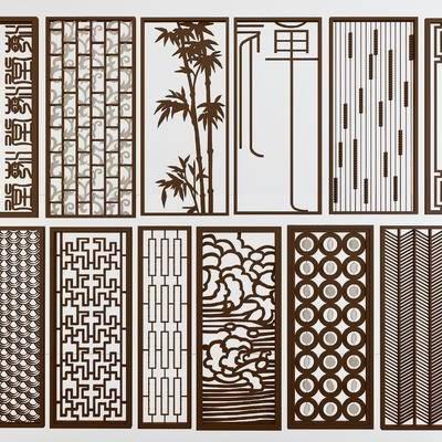 新中式花格, 现代隔断, 屏风