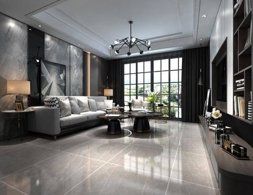 客厅, 沙发组合, 沙发茶几组合, 摆件组合, 现代轻奢
