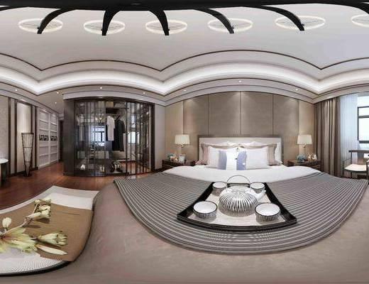 卧室, 主卧, 新中式卧室, 床, 吊灯, 衣柜