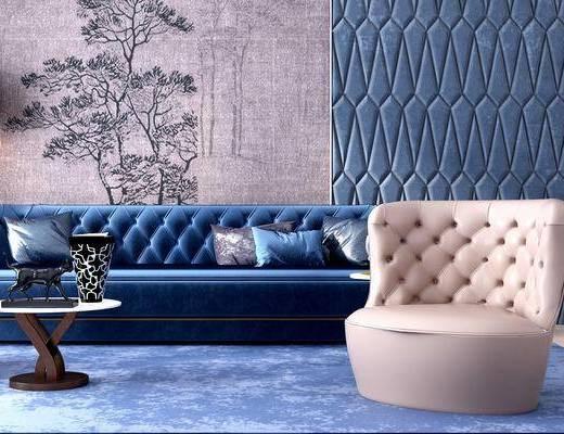 沙发组合, 沙发, 单人沙发, 多人沙发, 后现代, 茶几, 边几, 台灯, 墙绘