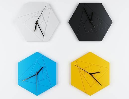北欧简约几何钟表3d模型, 时钟, 挂件