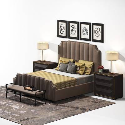 双人床, 床具, 挂画, 装饰画, 台灯, 床头柜, 脚踏, 现代
