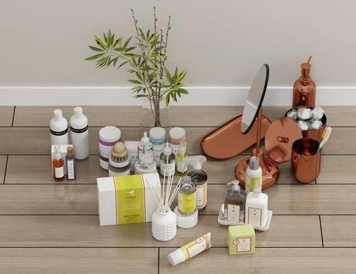 化妆品, 洗涤日用, 卫浴小件, 摆件组合, 现代