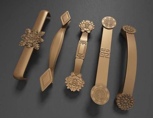 门把手, 拉手, 门, 五金件, 金属, 浮雕, 雕花, 中式
