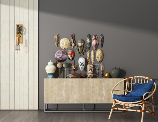 电视柜, 单椅, 椅子, 边柜, 壁灯, 墙饰