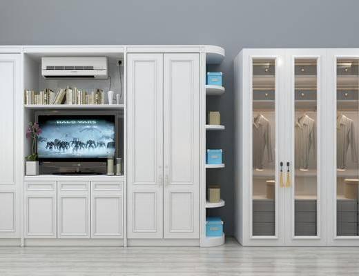 衣柜, 简欧衣柜, 衣服, 摆件, 空调, 电视, 简欧