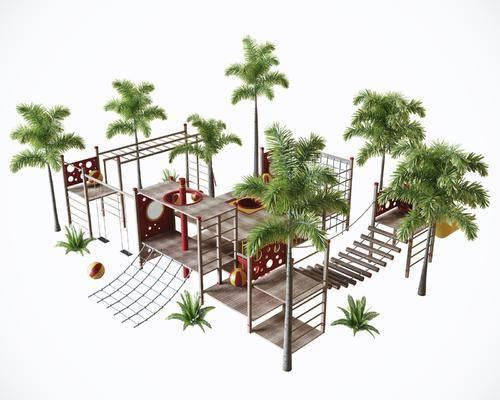 游乐园玩具, 儿童攀爬, 户外攀爬, 棕树组合, 现代