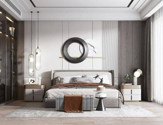 双人床, 床具组合, 墙饰, 吊灯, 床头柜, 衣柜, 窗帘
