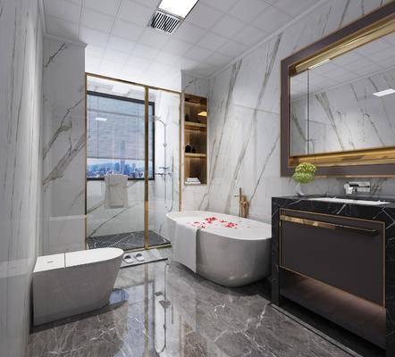 衛浴, 現代衛生間3d模型, 浴缸, 衛浴小件