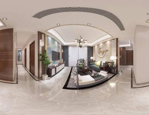 客廳, 餐廳, 沙發組合, 沙發茶幾組合, 邊柜組合, 餐桌椅組合, 擺件組合, 新中式