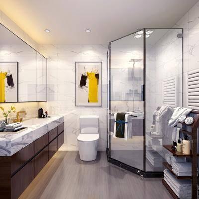 现代北欧卫生间, 洗手台, 毛巾, 现代