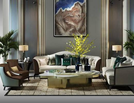 沙发组, 沙发背景墙, 沙发组合, 盆景, 植物, 沙发椅, 椅子,多人沙发, 背景墙