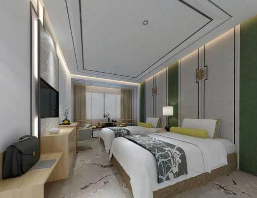 主题, 标准间, 宾馆, 客房, 卧室